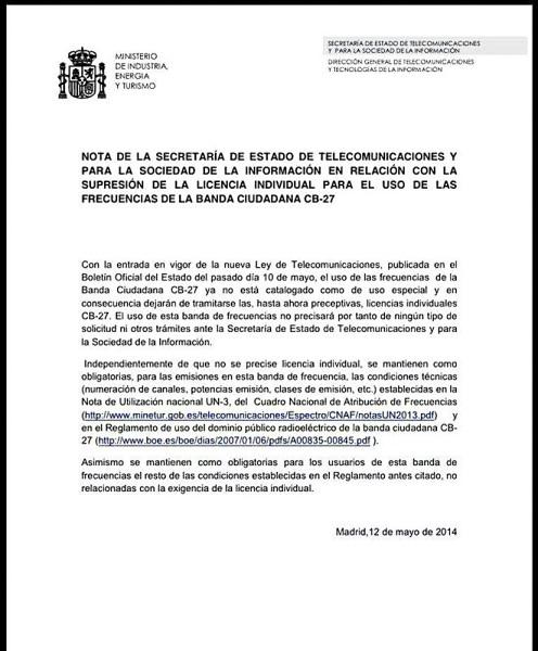 La Banda Ciudadana (27 Mhz), de uso libre